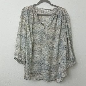 Violet + Claire popover blouse 1X marbled print